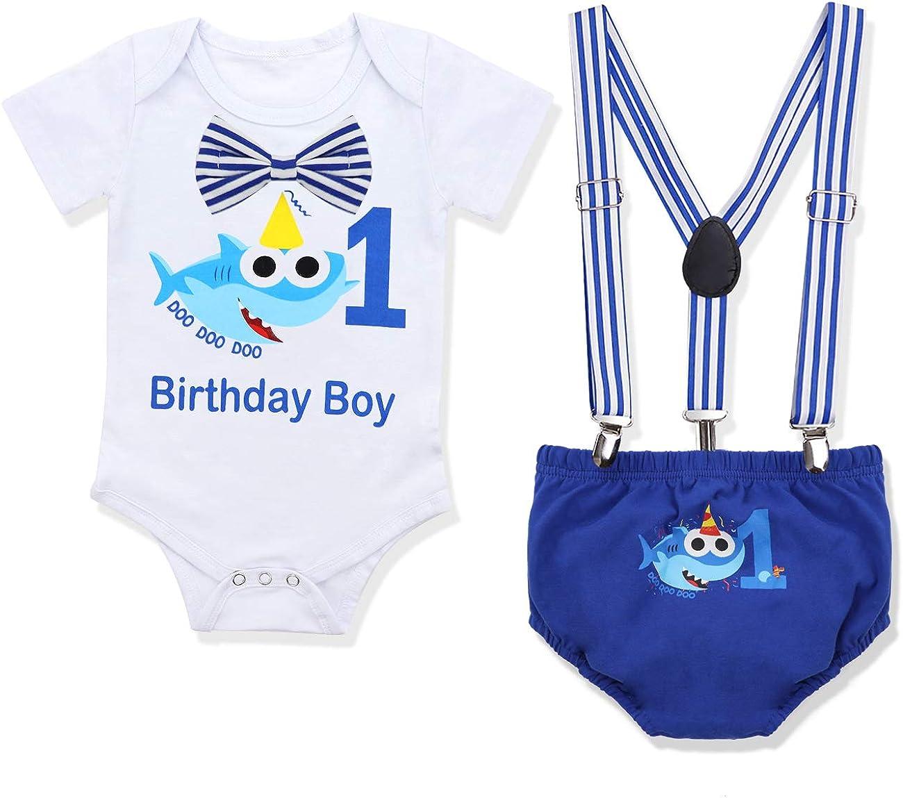Baby Boy Clothes Shark Doo Doo Doo Print Summer Cotton Sleeveless Outfits Set Tops + Short Pants