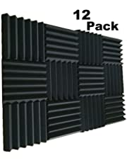 "MIUCOO 12 Pack- Charcoal Acoustic Panels Studio Soundproofing Foam Wedges Tiles Fireproof 2"" X 12"" X 12"" (12 PCS, Black)"