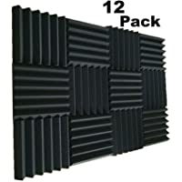 "MIUCOO 12 Pack- Charcoal Acoustic Panels Studio Soundproofing Foam Wedges Tiles Fireproof 2"" X 12"" X 12"" (12 PCS, Black)"
