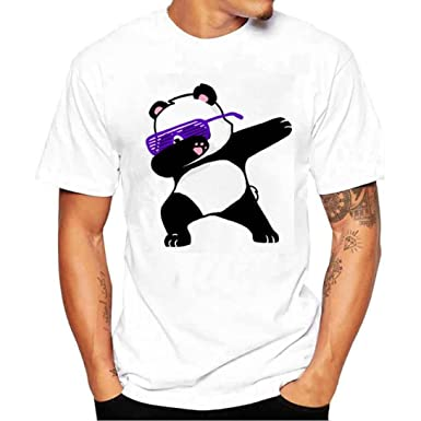 acf69785951d5 ZYooh Fashion Mens Round Neck T-Shirt,Panda Printing Casual Short Sleeve  Tee Cotton Solid Color Short Tops