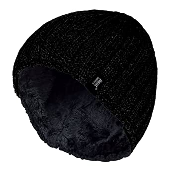 ce9fd2df33d Image Unavailable. Image not available for. Color  HEAT HOLDERS Men s Plain  Ribbed Knitted 3.4 tog Thermal Winter Beanie Hat Black