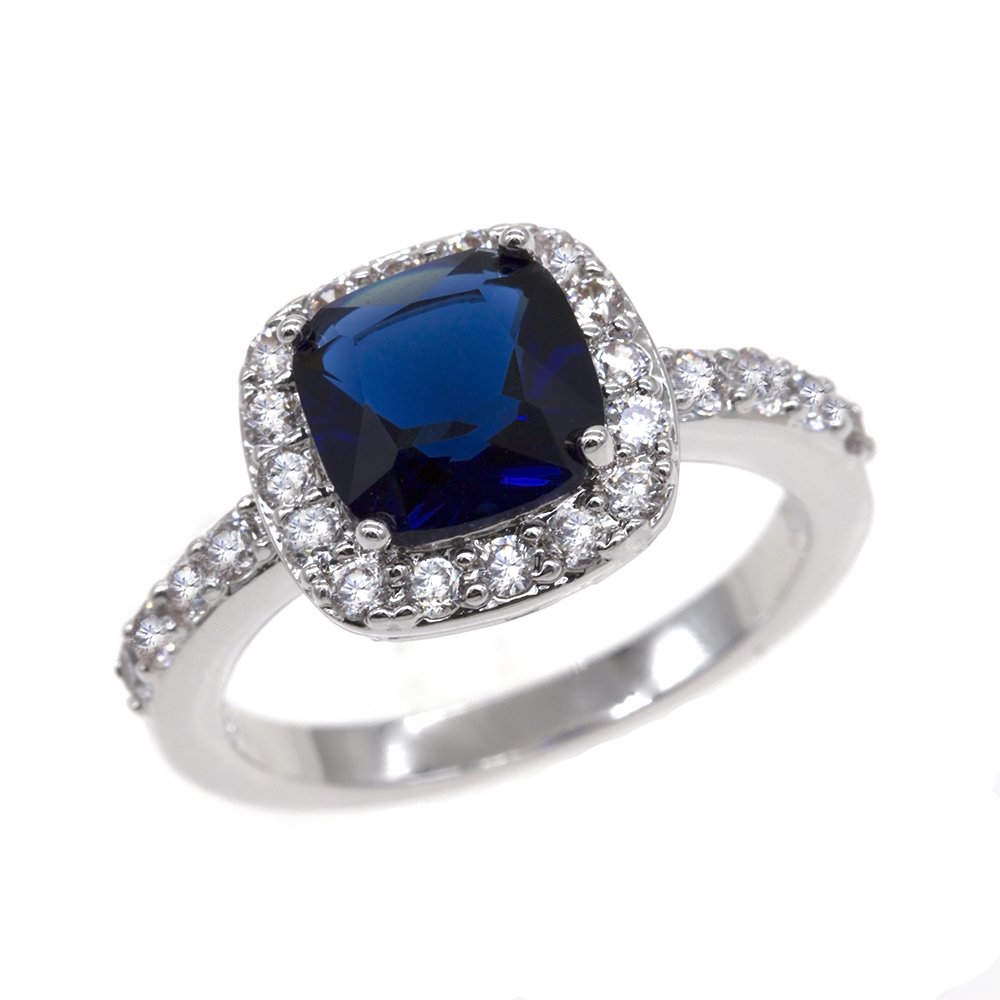 Impression Collection Square Rings Wedding Party Statement CZ Cocktails Gold Plated Classic Fashion Size 5-10 (Blue, 12)