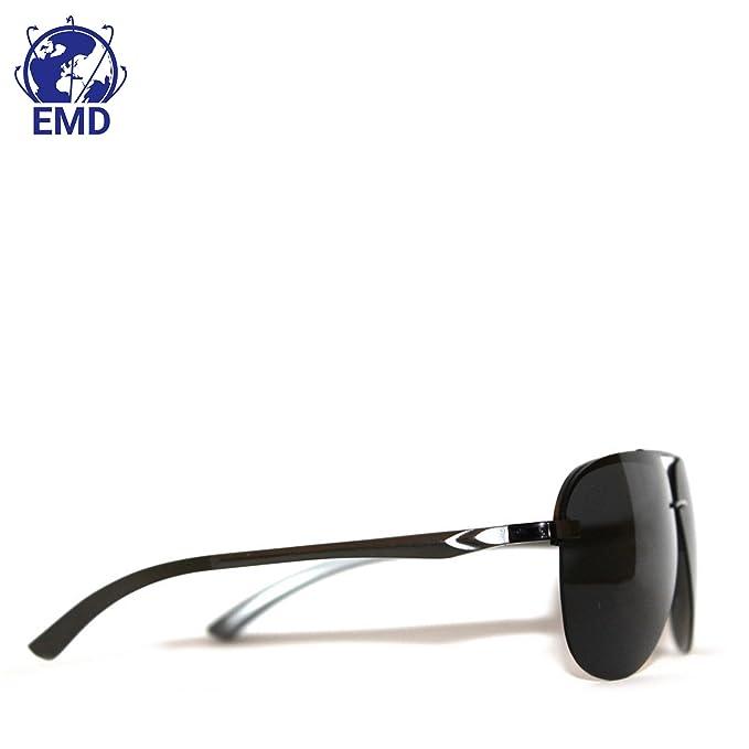Lunettes de soleil Aviateur Design - Polarisées - Effet miroir - UV 400 - Très légères, alliage Aluminium-Magnesium - Charnière Flex - Avec Etui - Homme - Femme - Recommandé pour l'automobile, l'aviat