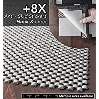 A2S-Grip Area Rug Pad Non Slip 2X Thickness: 9pcs System Rubber Rug Mat + 8X Rug Anchors Extremely Strong Hold No Residue Carpet Anti-Skid Stickers Hook & Loop (2X4-Feet)