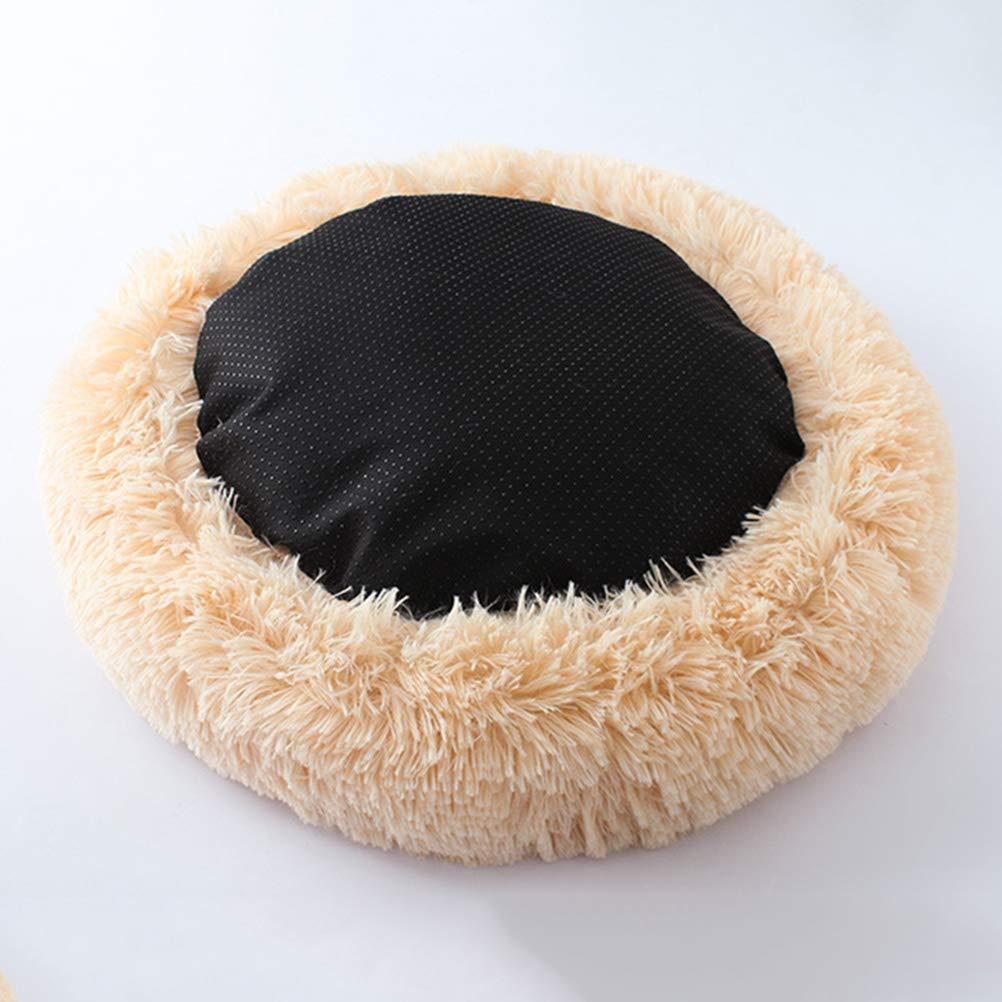 POPETPOP Luxury Shag Fur Donut Cuddler Round Cat and Dog Cushion Bed Self-Warming and Cozy for Improved Sleep (Big Size, Beige) by POPETPOP (Image #4)