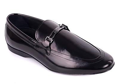 38b417f4b Amazon.com: Versace Collection Mens Black Polished Leather Logo ...