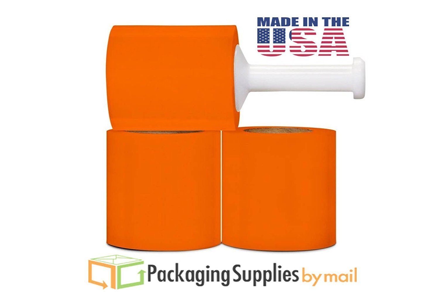 5in x 1000ft x 80gs Narrow Banding Orange Stretch Film Hand Wrap 60 Rolls + 1 Plastic Handle per Case