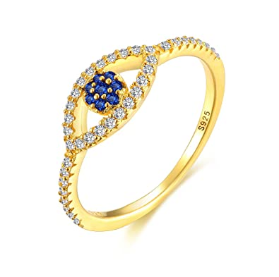 a7a5d6e3b485f8 Blue Evil Eye Band Ring 18k Gold Plated Sterling Silver 925 Cubic Zirconia  Width 1.5mm