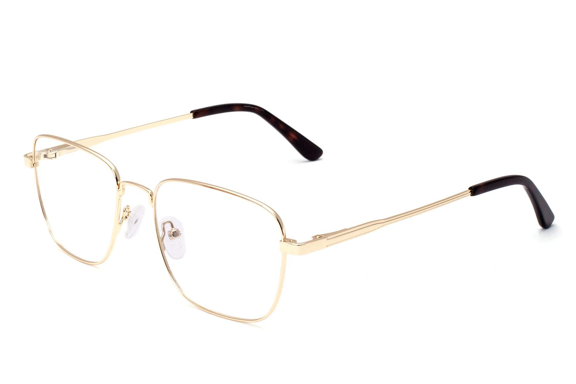 SHINU Men's Metal Frame Anti Blue Light Progressive Multifocal Computer Glasses-MAT5816(C2,no magnification)