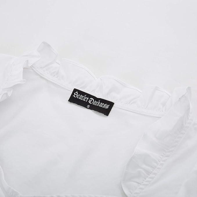 42682b2b85b15 SCARLET DARKNESS Trachten Damen Dirndlbluse - Kurzarm Weiß Bluse für  Oktoberfest