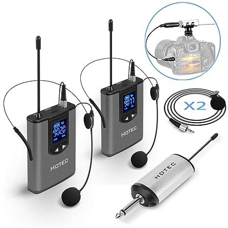 Hotec Dual UHF Auriculares inalámbricos Micrófono/Lavalier Solapa ...