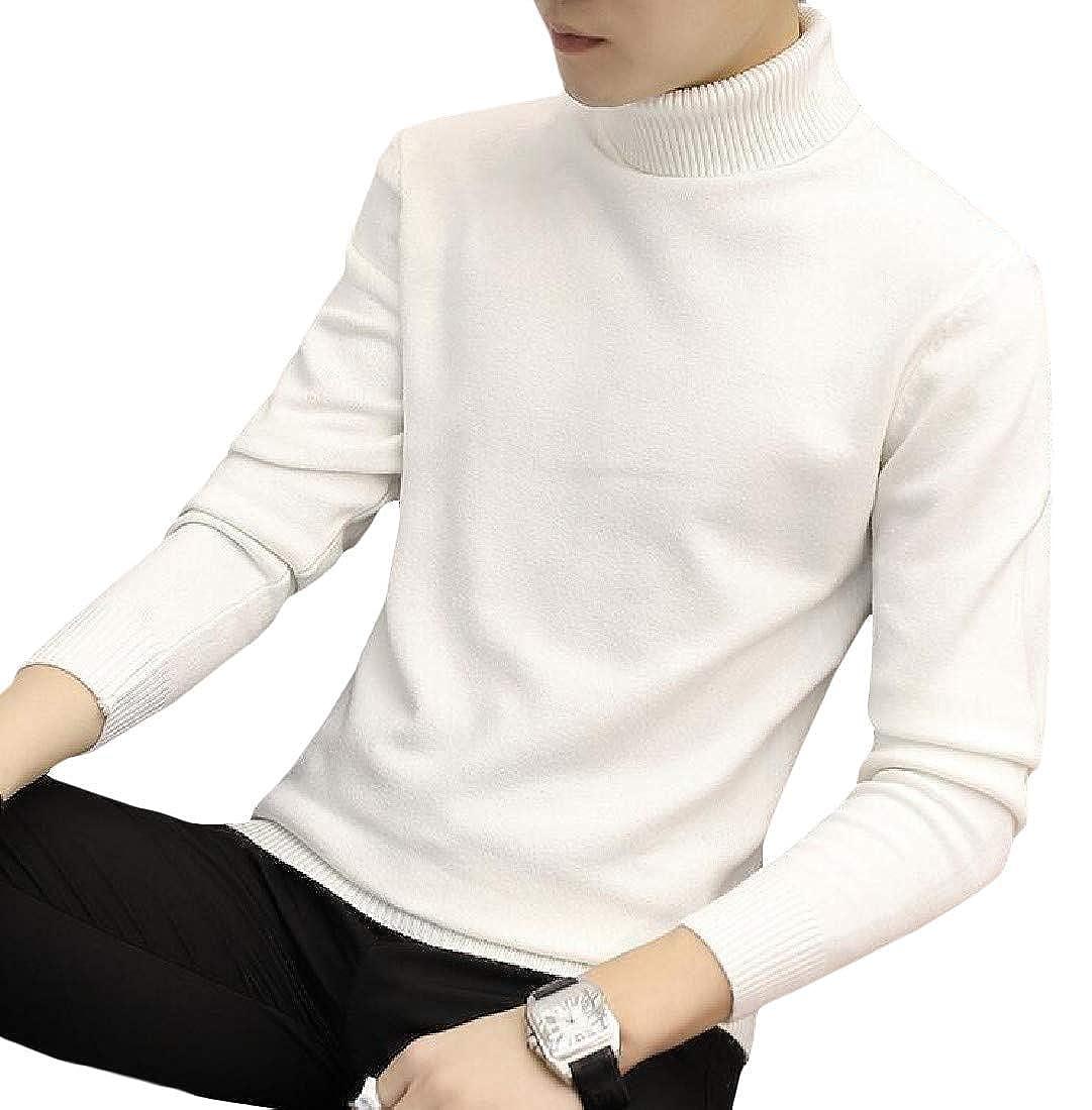 Joe Wenko Mens Turtleneck Classical Knit Solid Pullover Winter Sweater