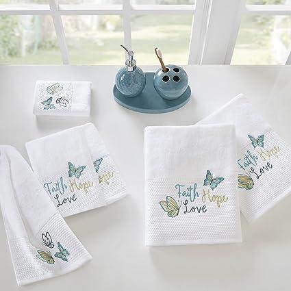 Madison Park Faith Hope Love Cotton Bathroom Towels, Washable Highly  Absorbent Bath Towel Set,