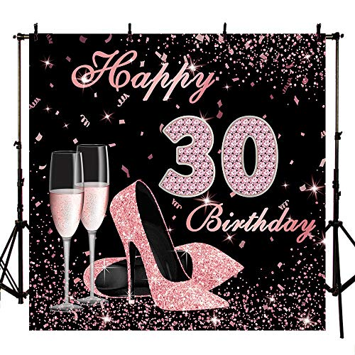 Mocsicka Happy 30th Birthday Backdrop 8x8ft High Heels Elegant Lady Photography Backdrops Rose Gold Diamond Backdrop for Pictures Champagne Photo Booth Props -