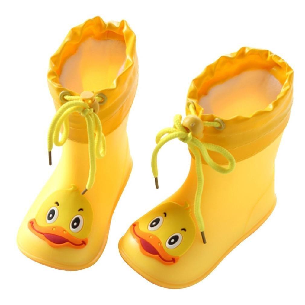 Kids Waterproof Warm Boots Rain Shoes,Infant Cartoon Animal Pattern Rubber Waterproof Durable Children (Yellow, 17)