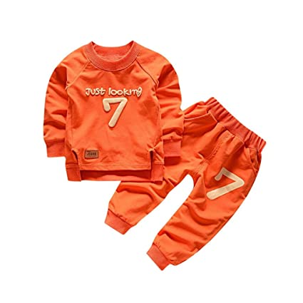 8e22a9a6b7fc2 Gotd Toddler Infant Baby Girl Boy Clothes Winter Long Sleeve Print  Tops+Pants Christmas Autumn Outfits Gifts (3T(2-3 Years), Orange)