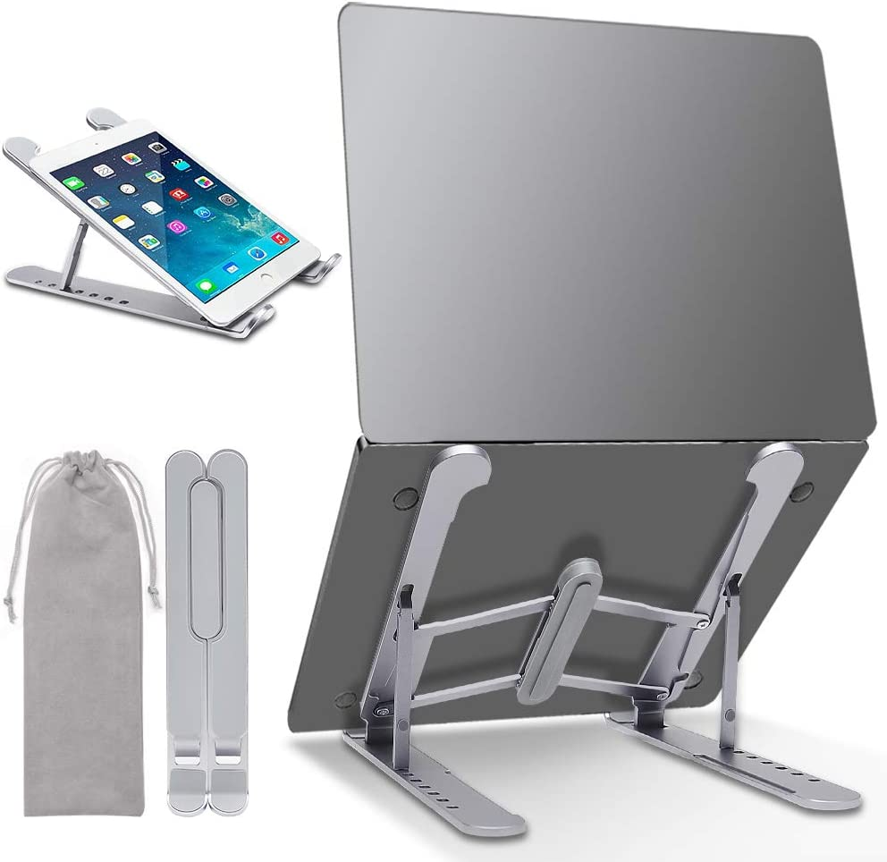 """Laptop Stand, YUOROS Portable Aluminum Computer Tablet Stand with 7 Levels Height Adjustment Compatible with MacBook Air Pro, Dell XPS, HP, Lenovo Most 10-17"""" Laptops"""