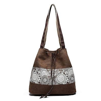 143d21e91f669 Bvane Damen Handtasche Canvas Schultertasche Umhängetasche Damen Shopper  Tasche Schöne Vintage itytasche mit Modernes Blumenmuster -