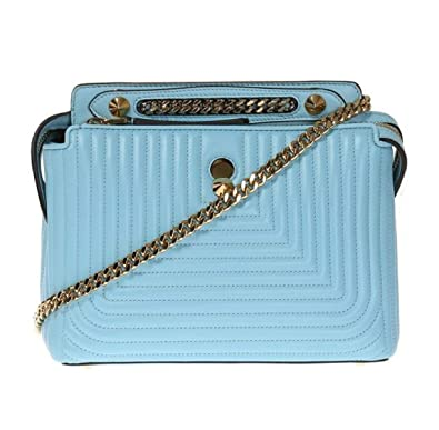 766b88bce862 Image Unavailable. Image not available for. Color  Fendi Dotcom Click Blue  Turquoise Small Quilted Lambskin Leather Chain Satchel Bag ...