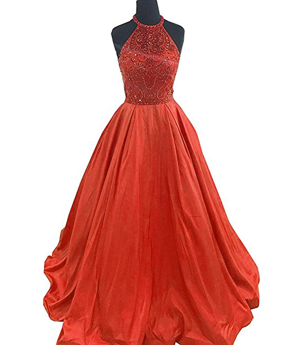 orange Lnxianee Women's Halter Beaded Prom Dresses Long Formal Satin Party Evening Gowns