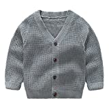 SPRMAG Little Boys Knit Solid V-Neck Cardigan Coat Long Sleeve Single-Breasted Sweaters 4T Grey