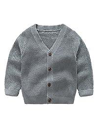 SPRMAG Kids Boy Knit Solid V-neck Cardigan Coat Long Sleeve Sweaters