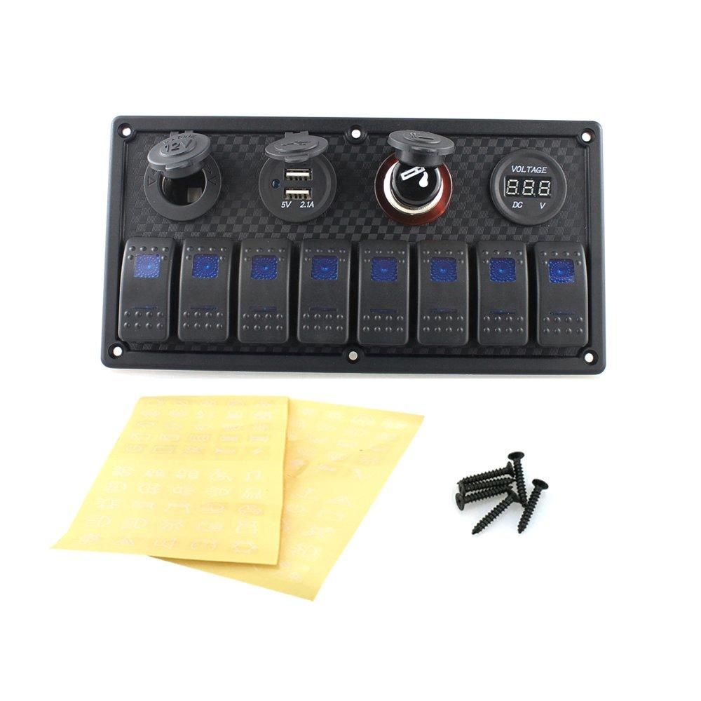 MagiDeal 12V-24V 8 Gang Wasserdichte Switch Panel Schalttafel USB ...