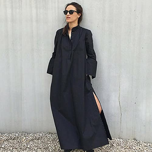 b0af495f4ada Image Unavailable. Image not available for. Color  Women s Black Kaftan Maxi  Cotton Dress with Long Sleeves Oversized ...