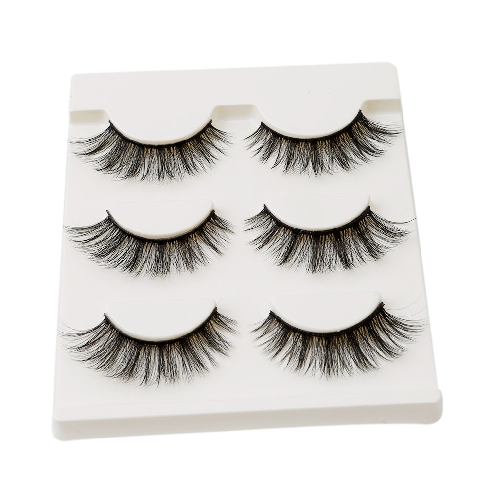 HENGSONG 3 Pair Black False Eyelashes Natural Thick Eye Lashes Makeup Extension mei_mei9 AS-13