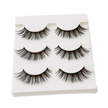 b66a896f99b HENGSONG 3 Pair Black False Eyelashes Natural Thick Eye Lashes Makeup  Extension