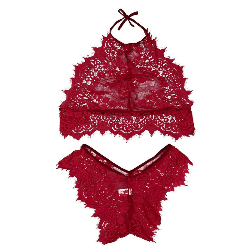 LUCA Lingerie Set,2019 Women Fashion Lingerie Lace Flowers Push Up Top Bra Pants Underwear Set Wine Red