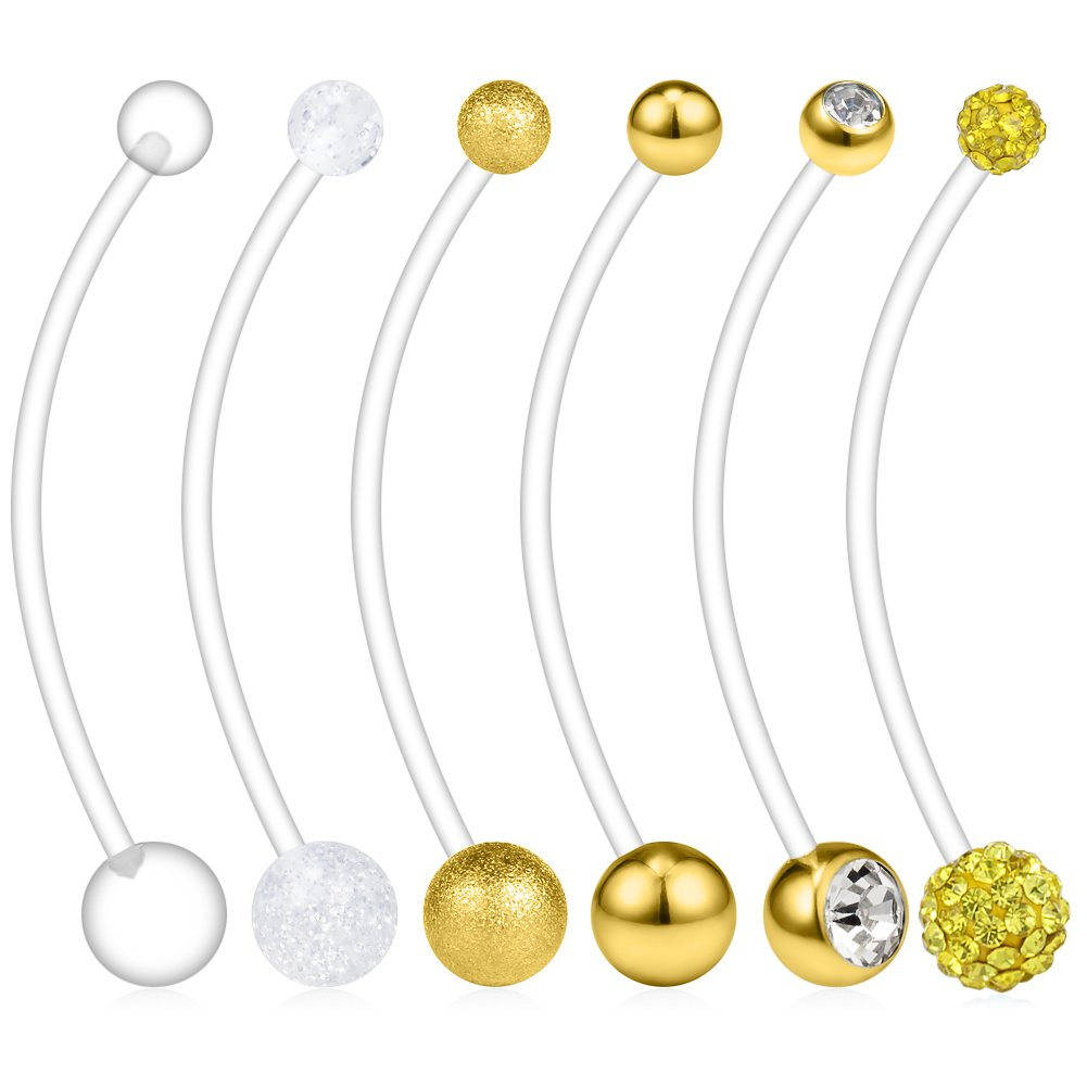 38mm DQD00197 Ruifan 6PCS Mix Style Pregnancy Sport Maternity Flexible Bioplast Belly Navel Button Ring Retainer 14G 1 1//2Inch