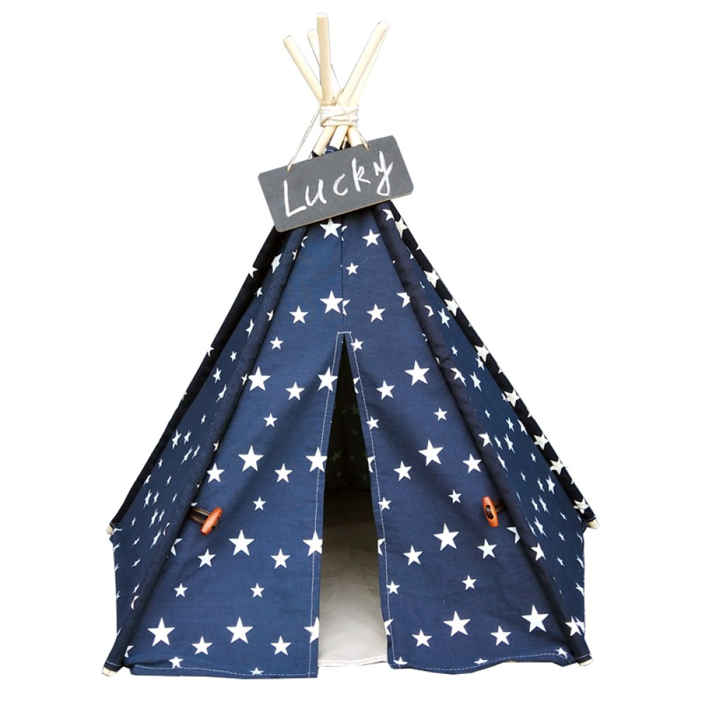bluee Large bluee Large AYCC Pet Tent, Dog Mattress, Outdoor Toy House, Wooden Canvas Tent, Foldable, Removable, Pet Supplies, Starry Sky,bluee-L