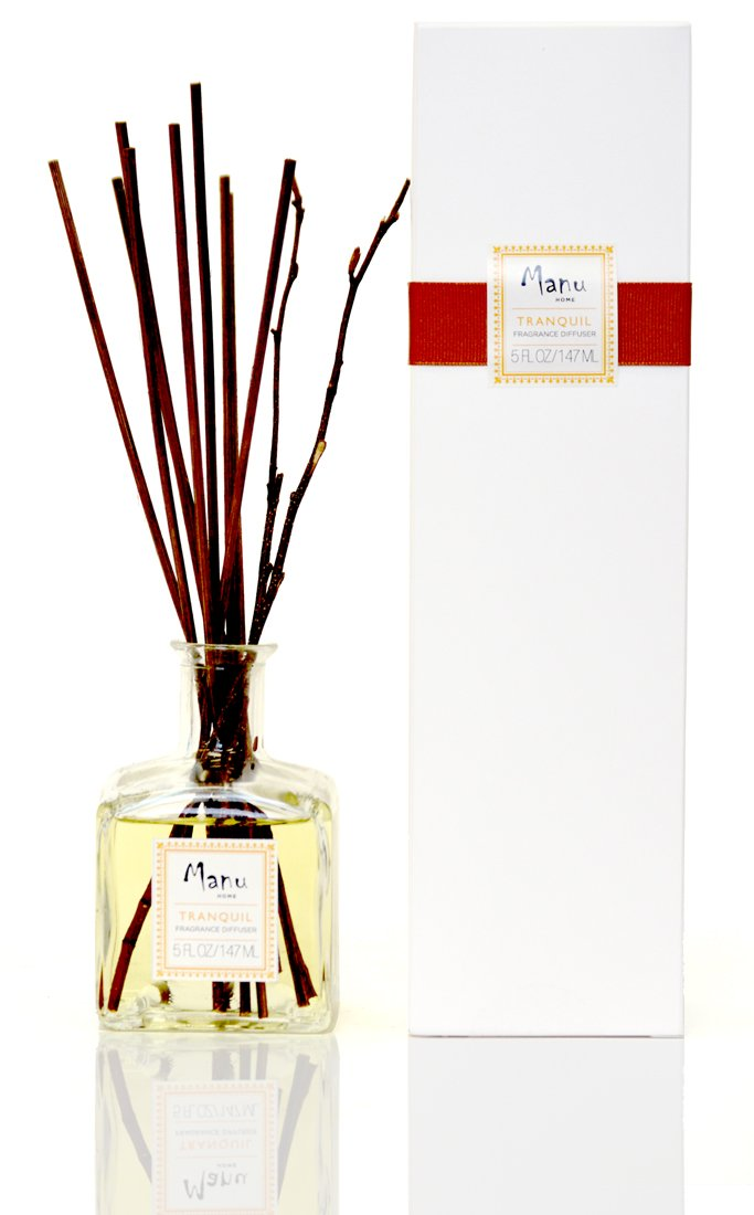 Manu Home Tranquil Reed Diffuser ~ Woodsy Sandalwood, Cedar notes & Ylang Ylang Essential Oil! Great Relaxing Scent ~ Made in the USA by Manu Home (Image #1)