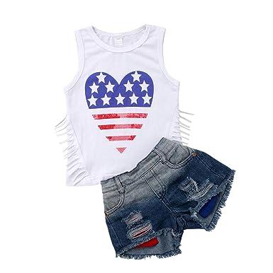 d1927bec5 2Pcs Fashion Toddler Kids Baby Girl Denim Shorts Sets Sleeveless T-Shirt  Top Ripped Denim