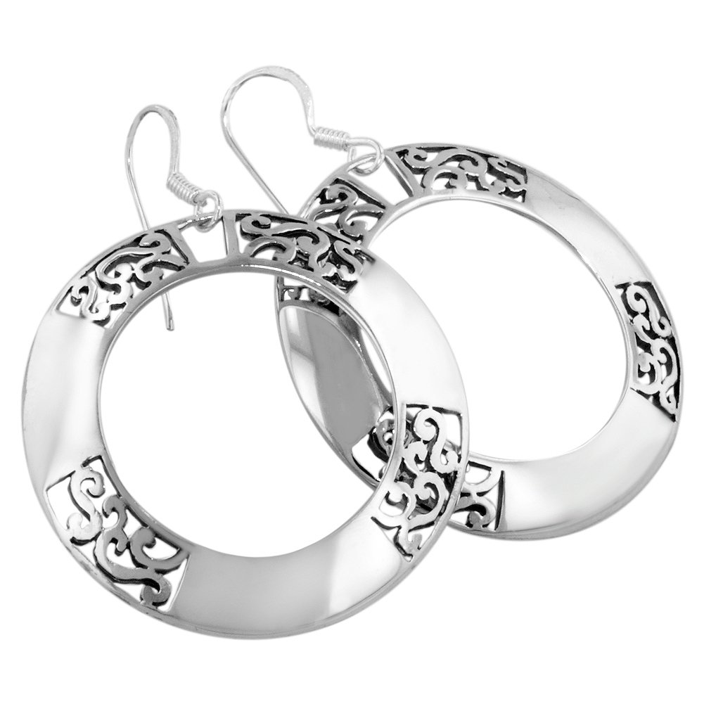 Sterling Silver Filigree and Solid Ring-Shaped Dangle Earrings