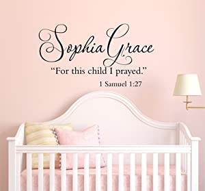 """for This Child I Prayed 1 Samuel 1:27 - Scripture Quote Vinyl Decal - Christian Decal -Wall Decal - Baby Nursery - Christian Wall Art PP35 Plus Free 12"""" White Hello Door Decal with Purchase"""