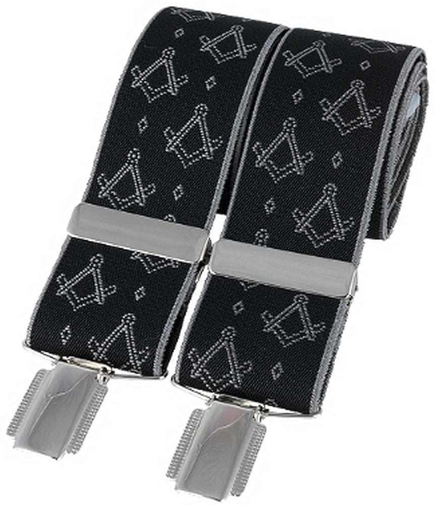 David Van Hagen Mens Classic Masonic Fashion Brace Black//White