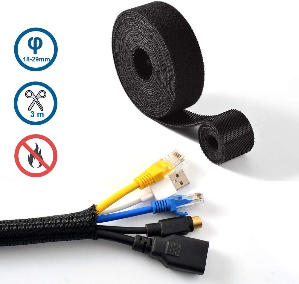 Rangement C/âble Bureau//TV//USB//Internet//Audio//Ethernet ipow 3m Cache-c/âble R/églable 2 * 300cm Attache-c/âble Auto-agrippant Gaine de Fil /Électrique et Serre-c/âble R/éutilisable pour Cable Management