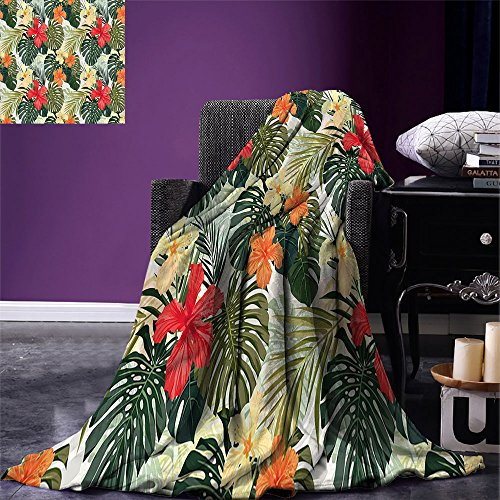 - smallbeefly Leaf Custom printed Throw Blanket Hawaiian Summer Tropical Island Vegetation Leaves with Hibiscus Flowers Velvet Plush Throw Blanket Green Orange and Yellow