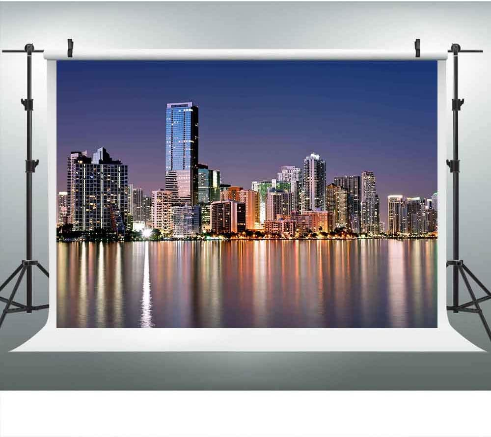 LUCKSTY Miami Skyline Backdrops for Photography 9x6FT City Night View High-Rise Buildings Neon Reflection Photo Backgrounds Photo Booth Studio Props LUXC042