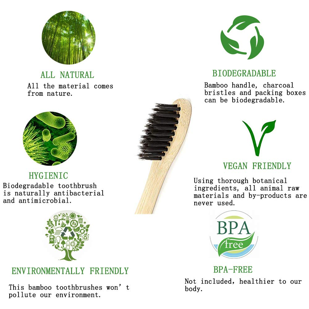 Bamboo Toothbrush - iBayx All Natural Organic Eco-Friendly Antibacterial Toothbrushes with Bamboo Handle and Charcoal Bristles, BPA Free & 100% Plastic-Free Biodegradable, Family Set, 4 Pack