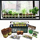 Windowsill Herb Garden Kit, Herb Planter Comes Complete with a 10 Variety Non GMO Heirloom Herb Seed Collection & Herb Pots.