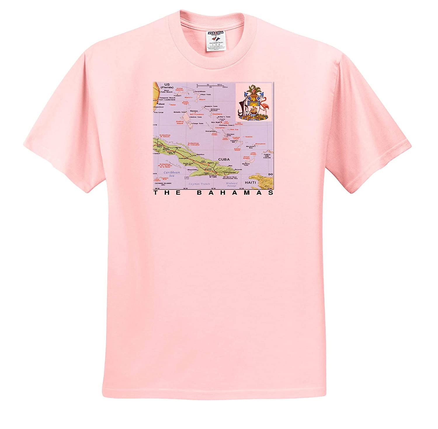 T-Shirts 3dRose Lens Art by Florene Topo Maps with Flags Image of Map of The Bahamas with Flag and Seas