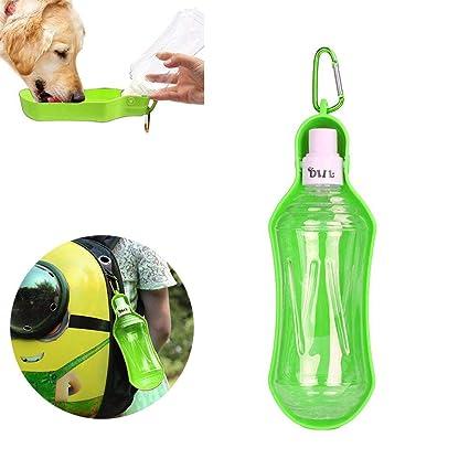 AOLVO Bebedero Perro Portátil Plástico, Botella de Agua de Viaje para Mascotas