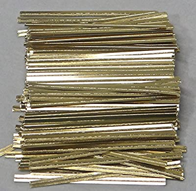 "Metallic Gold Paper Twist Ties 100 Count 3 1/2"" Length Candy Making Supplies"
