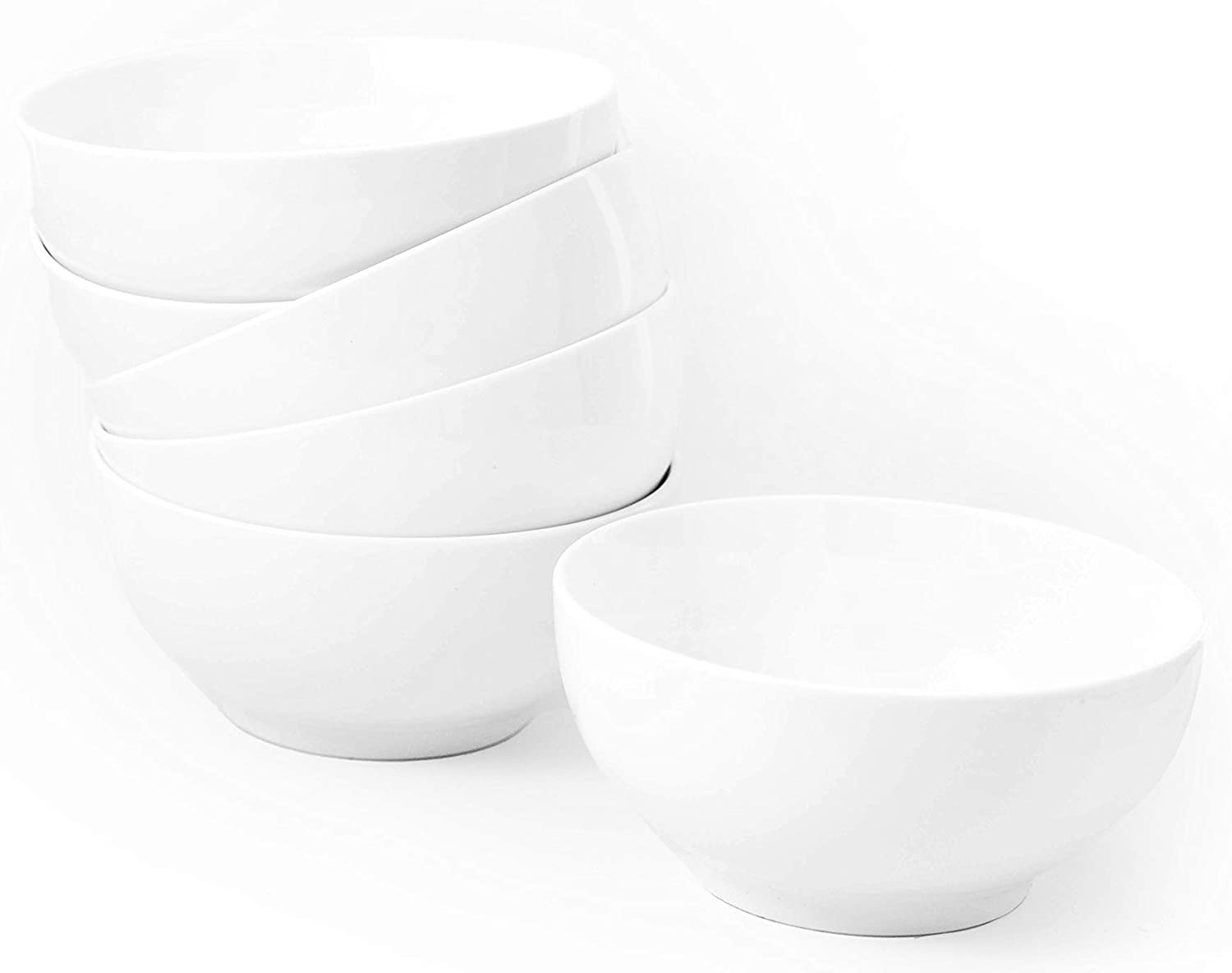 Amuse- Professional Porcelain Bistro Collection Daily Bowls for Cereal, Soup and Fruit- Set of 6-22 oz