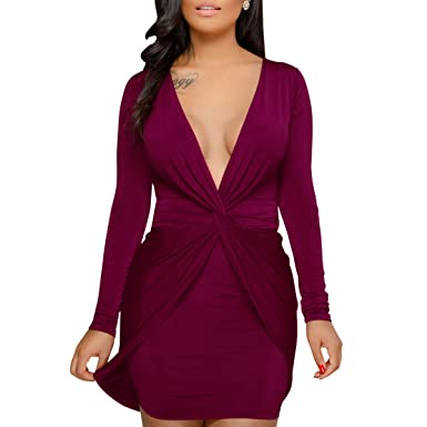 53367fc2f1 HELIDA Women s Sexy Long Sleeve Plunge V Neck Twist Front Mini Bodycon Club  Dress at Amazon Women s Clothing store