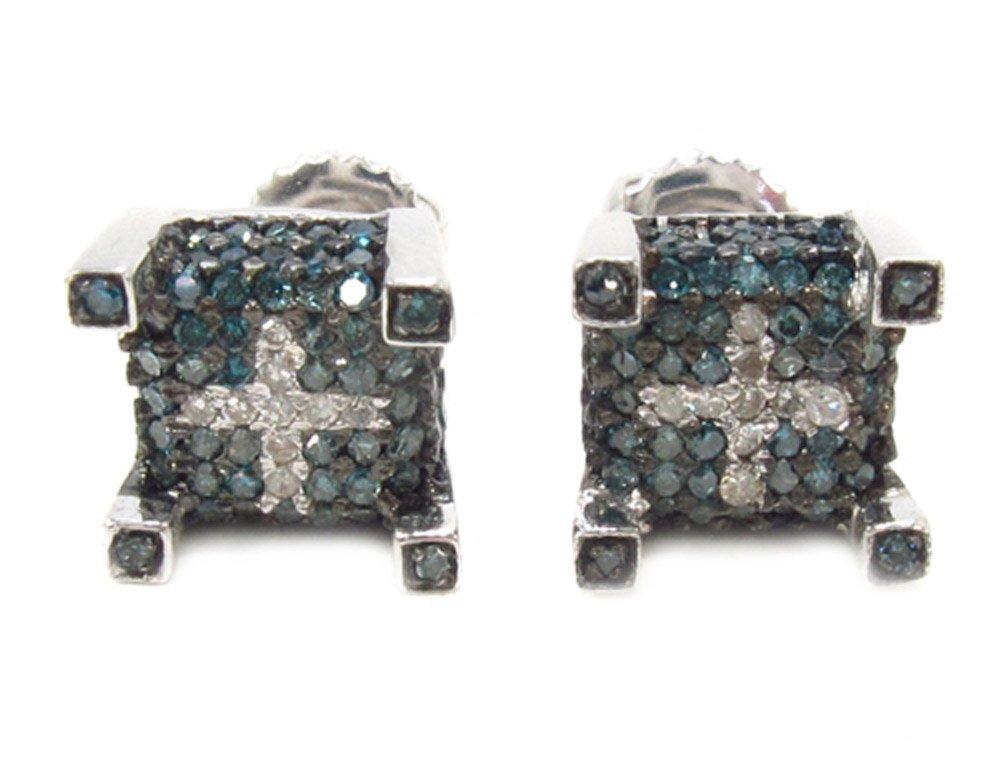10K White Gold 0.50 Carat Blue& White Diamond Square Stud Earrings for Men or Women with Screw Back