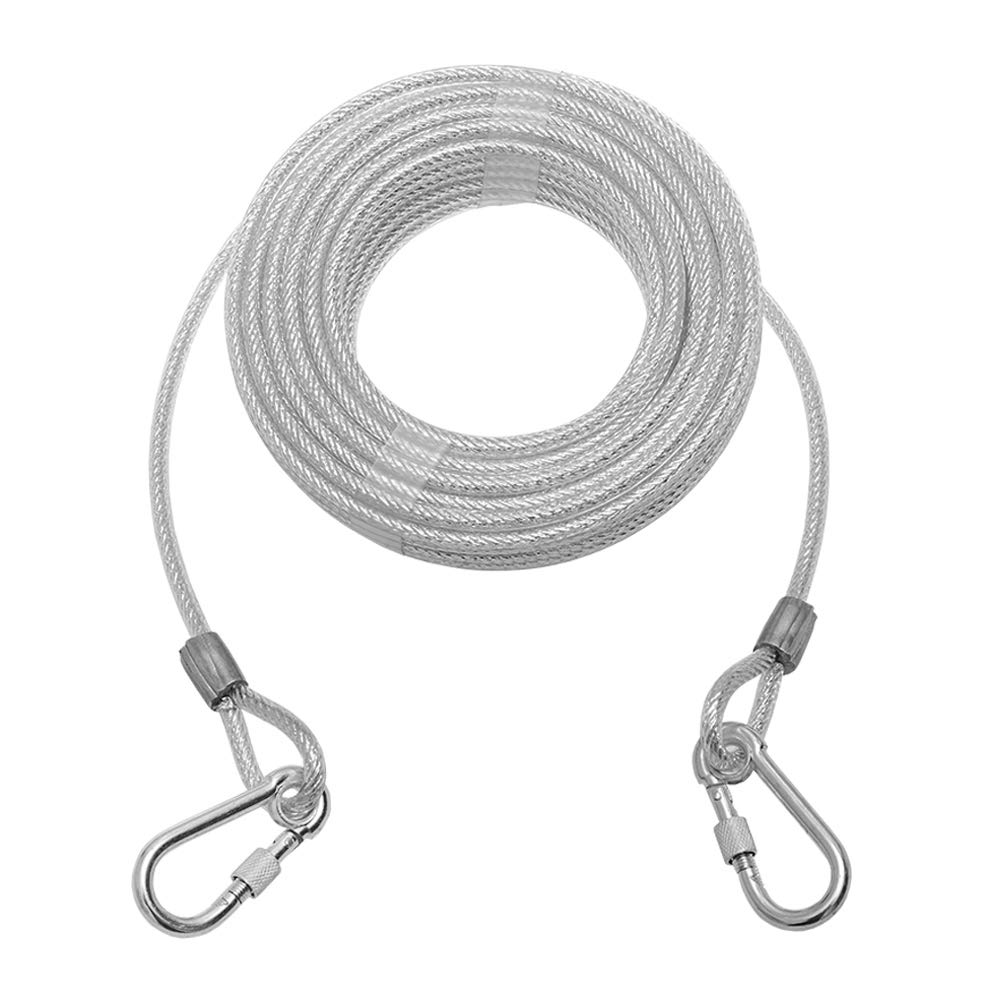 Mihachi Reflective Tie Out Cable for Dog Up to 125 Pounds, 50-Feet, Heavy Weight for Medium to Large Dogs, Silver by Mihachi